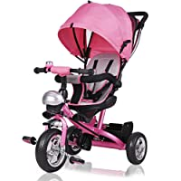 Kids Trike 3 Wheeler Children Tricycle Ride-On Bike with Parent Handlebar Canopy Pink