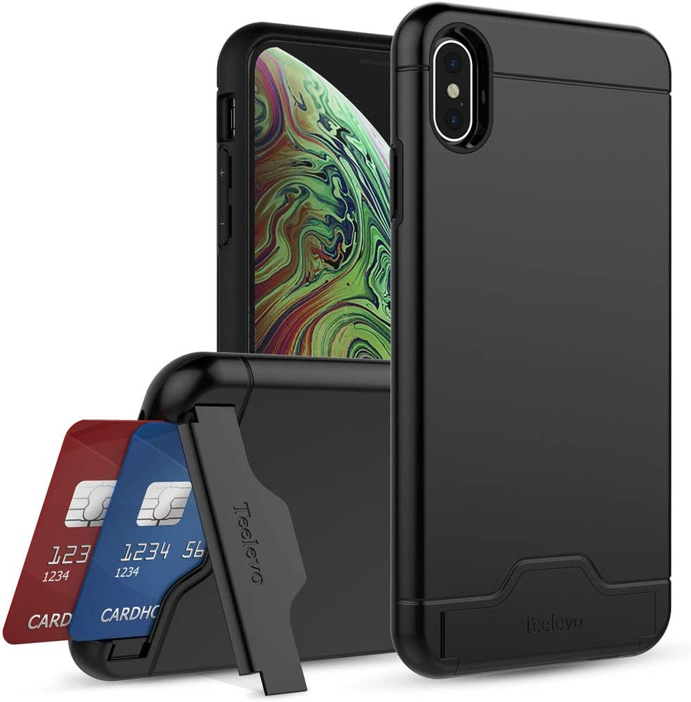 Teelevo Wallet Case for iPhone Xs Max, Dual-Layer Case with Hidden Card Storage for Apple iPhone Xs Max, Matte Black