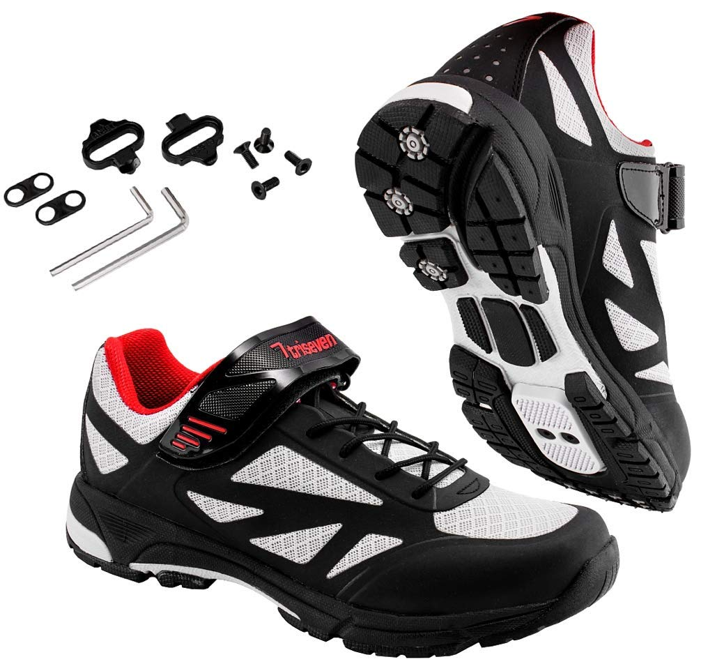 TriSeven Mountain MTB Shoes w/SPD Cleats - Lightweight, Breathable Synthetic Leather, Anti-Slip Heal & SPD/SPD-SL Compatible! (39) Black