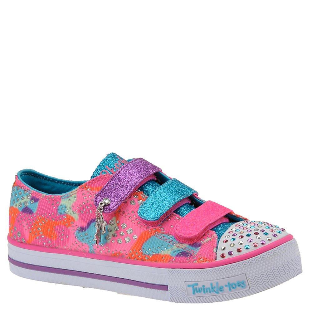 Skechers Twinkle Toes Shuffles-10760L Girls' Toddler-Youth Slip On 3.5 M US Big Kid Hot Pink-Multi