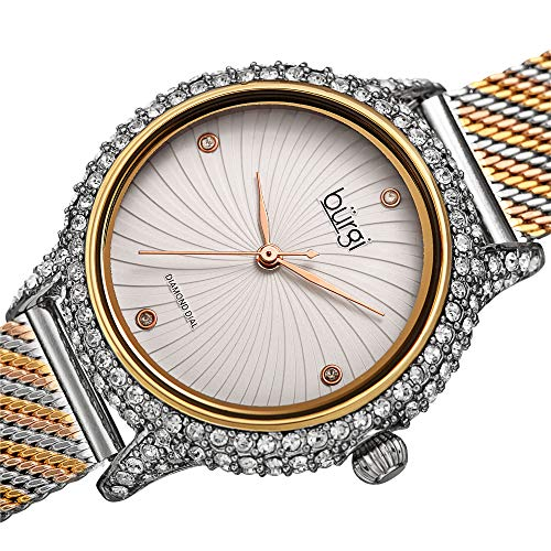 Burgi Swarovski BUR250 Women's Swarovski Crystal Studded Case Watch with 4 Diamond Markers On A Mesh Band (Gold and Silver on White Dial)