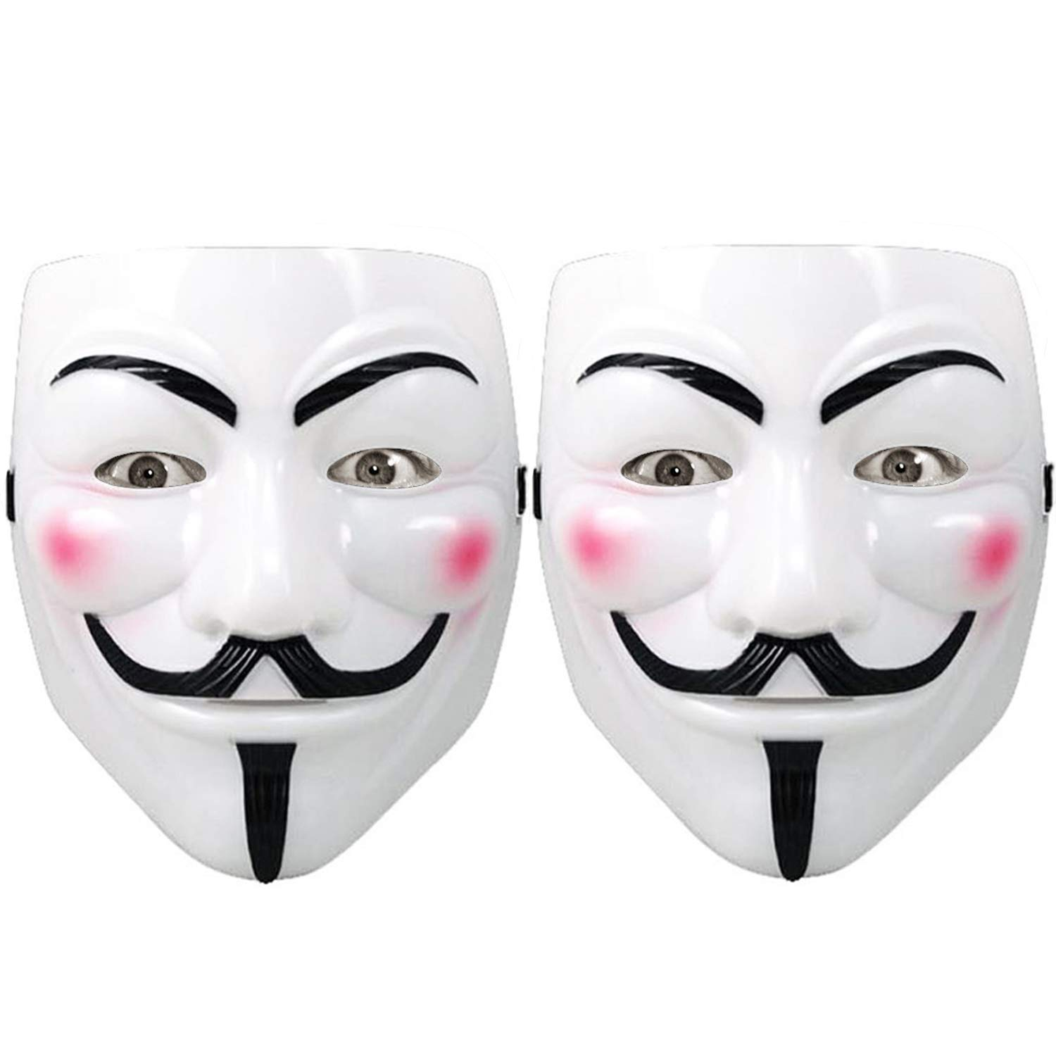 Hacker Mask for Costume Kids - 2 Pack White Anonymous Face Masks for Halloween V for Vendetta DIY Toy Head Mask