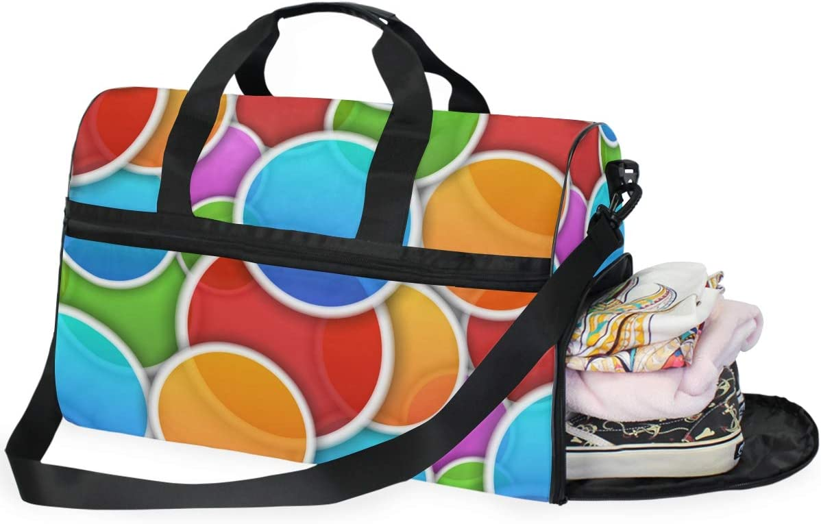 FAJRO Gym Bag Travel Duffel Express Weekender Bag Colorful Circles Carry On Luggage with Shoe Pouch