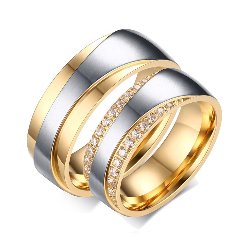 Stainless Steel Mens Womens CZ Couples Rings for Wedding Band Engagement Promise Bridal Set, Gold Vnox Jewelry CR--065P