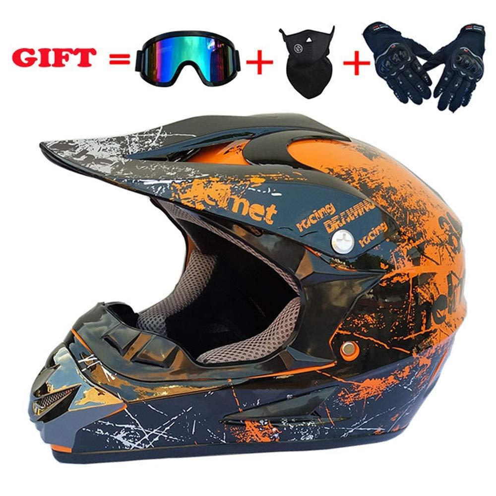 モトクロスクラッシュヘルメット、DOT認定アダルトオートバイオフロードヘルメットATVクワッドATVスクーターデュアルスポーツヘルメット4個セット、グリーン、XL、グリーン、L,オレンジ、小