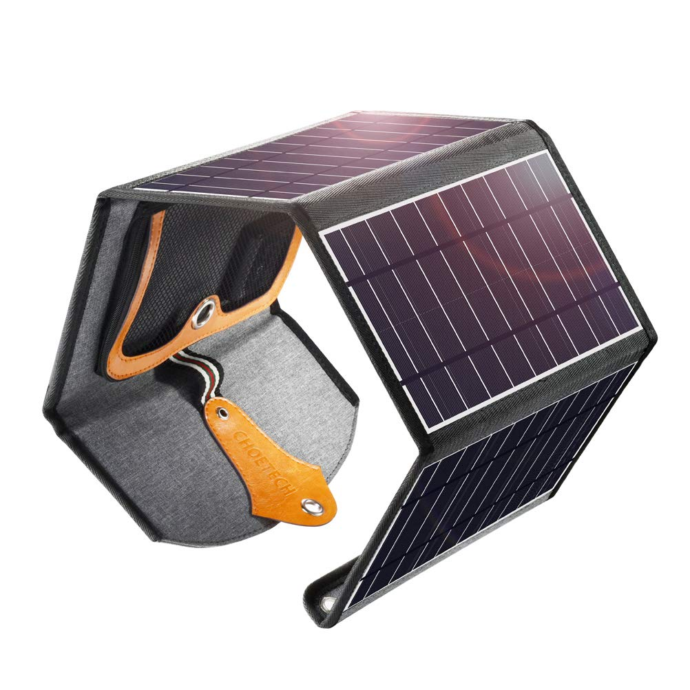 CHOETECH Solar Charger, 24W Potable Solar Panel Charger with Dual USB Ports Waterproof Foldable Compatible with Smartphones, iPad, Camera, Tablets for Camping Travel and Other Outdoor Activities