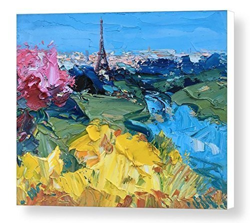Romantic Paris Prints Eiffel Tower Canvas Wall Art France Abstract Cityscape Home Decor Living Room Office Decoration Christmas Gifts Men Women Parents Couples Present from Painting Agostino - Place Water Tower Map