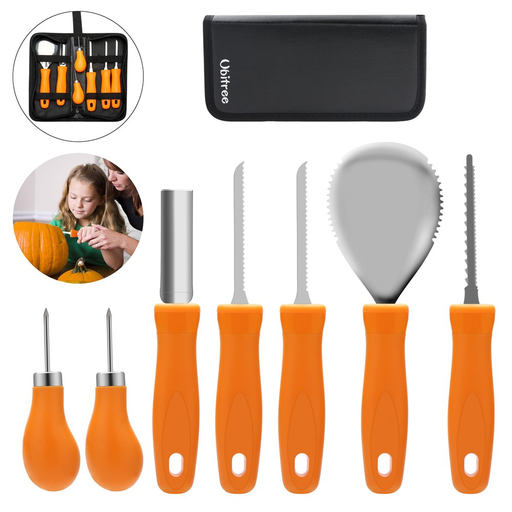 Pumpkin Craving Kit,Halloween Pumpkin Carving Tools,Premium 7 Piece Reusable Sturdy Stainless Steel Pumpkin Tools Set for Adult And Child