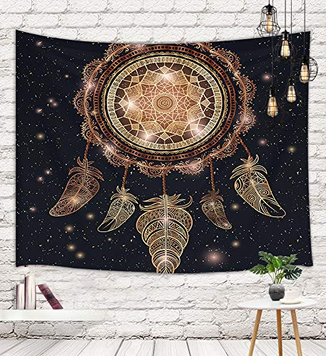 Ethnic Boho Mandala Hipster Tapestry Wall Hanging, Native American Dreamcatcher with Magic Feathers Wall Carpet Art for Home Decorations Dorm Decor Living Room Bedroom Bedspread TV Backdrop, 60X40in