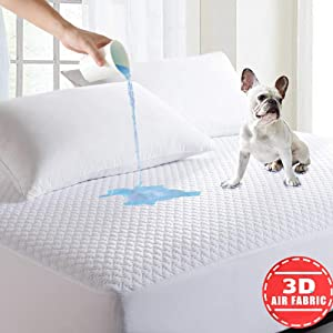 TONSREST Full Size Waterproof Mattress Protector, Cooling Fitted Mattress Pad, Bed Bug Mattress Cover, 14''-18'' Deep Pocket, 3D Air Fabric, Hypoallergenic, Vinyl Free (Full)