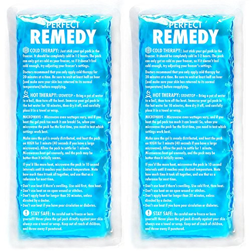 (Gel Ice Packs for Injuries (2 Pack) - Reusable Cold/Hot Compress for Injury, Pain Relief, Rehabilitation, Flexible Therapy for Knee, Shoulder, Back, Neck, Ankle)