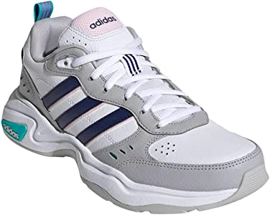 adidas Women's Strutter Fashion Sneakers Cloud White/Dark Blue/Clear Pink
