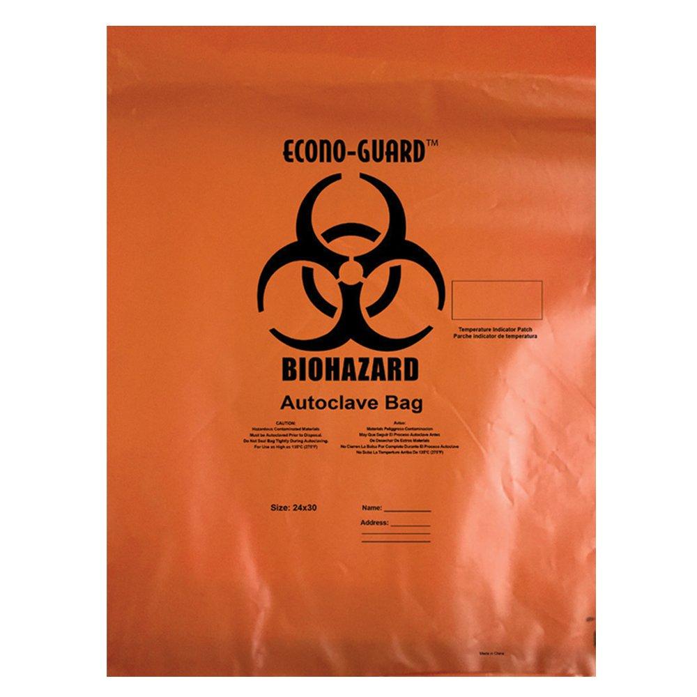 Action Health ACO31X38 Econo-Guard Polypropylene Biohazard Autoclave Bag, 31W x 38H, 2 mil, Indicator, Orange, Biohazard Print (Pack of 200) by Action Health