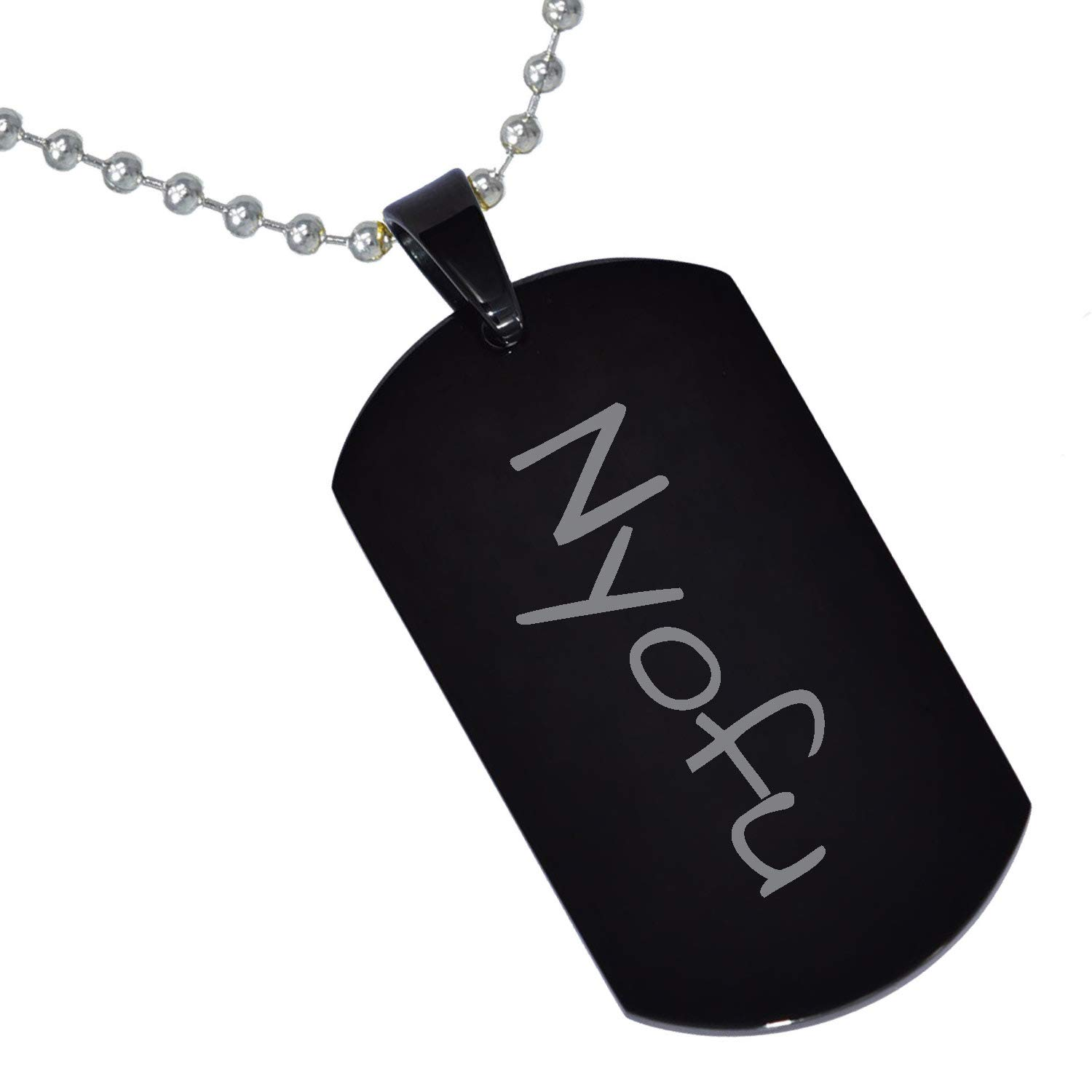 Stainless Steel Silver Gold Black Rose Gold Color Baby Name Nyofu Engraved Personalized Gifts For Son Daughter Boyfriend Girlfriend Initial Customizable Pendant Necklace Dog Tags 24 Ball Chain