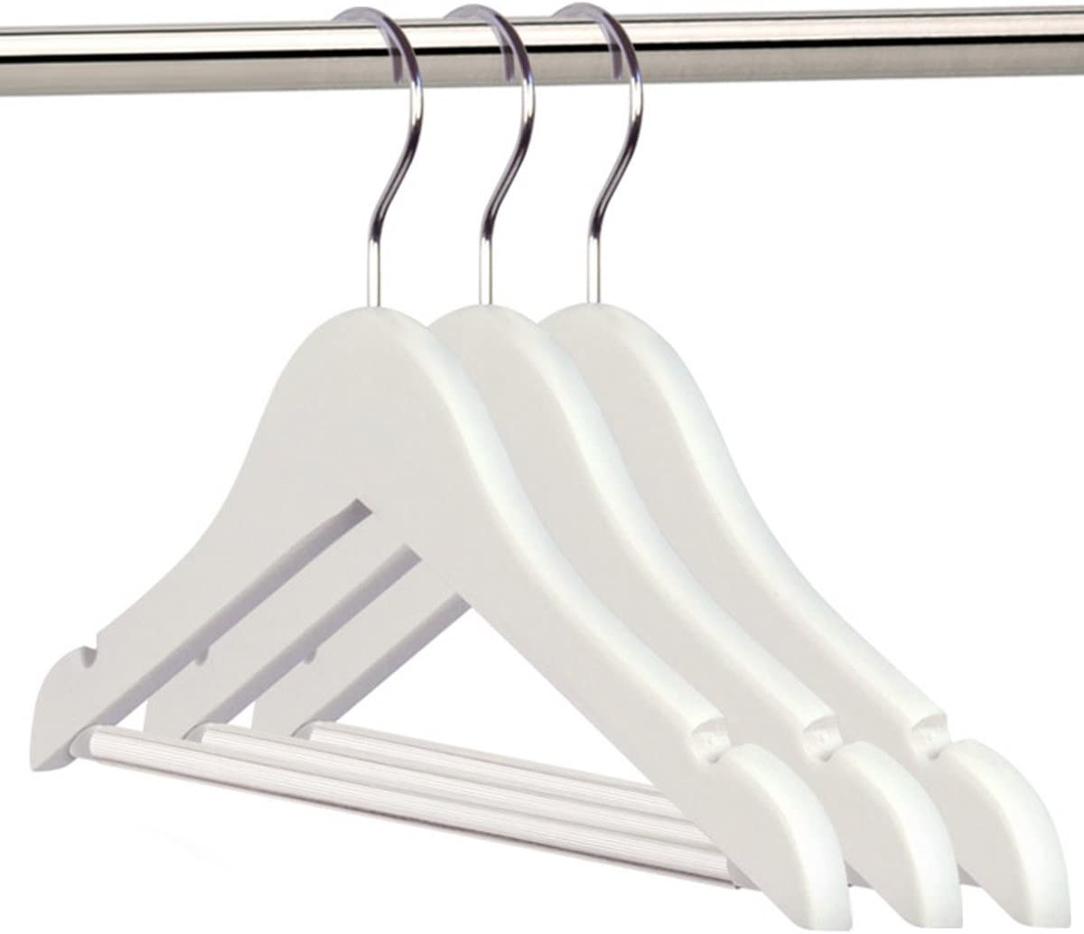 HANGERWORLD 36 Childrens 30cm White Wooden Baby Toddler Clothes Coat Hangers with Non Slip Trouser Bar