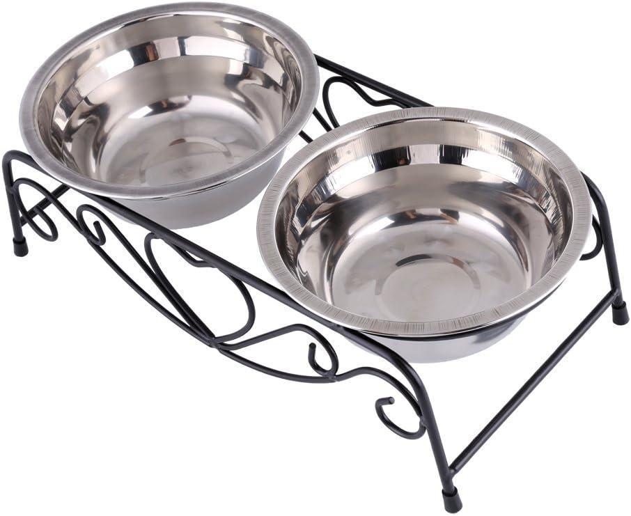 Yosoo Cuenco doble con soporte 11 cm para animales dom/ésticos con gomas antideslizantes gato de acero inoxidable alimentador perro plateado
