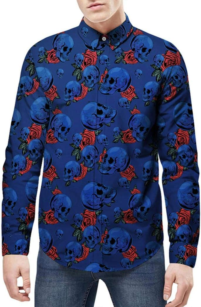 WWricotta LuckyGirls Camisa Formales Negocio para Hombre Camisetas de Manga Larga Estampado Calaveras Casual Remeras Streetwear