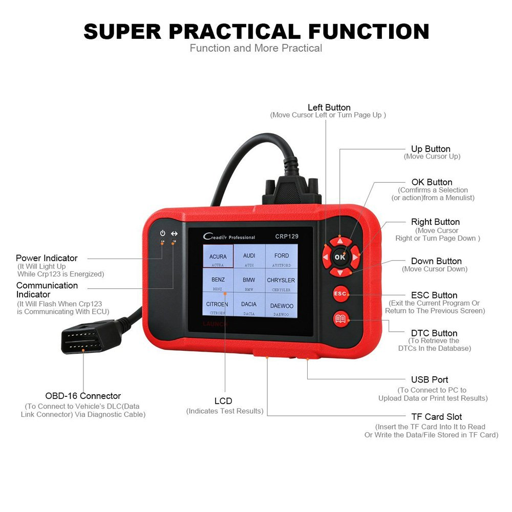 LAUNCH CRP129 OBD2 Scanner for ENG/at/ABS/SRS EPB SAS Oil Service Light Resets OBDII EOBD Auto Engine Code Reader Diagnostic Scan Tool by LAUNCH (Image #3)