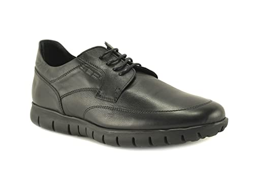 ConBuenPie by BECOOL - modelo 2612 - Zapato Extracomodo de Hombre de Piel en Color Negro (41, Negro)