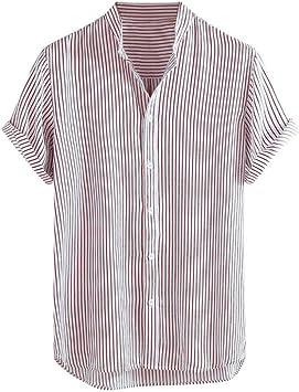 CHENS Camisa/Casual/Unisex/XL Camisas de los Hombres del Cuello de la Raya Camisa de Verano de los Hombres más el tamaño de Manga Corta Floja Ocasional Camisa Blusa Ropa: Amazon.es: Deportes y aire