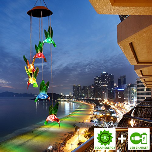FC-Fancier Solar Wind Chimes, [2018 Upgrade] Charging by USB and Solar Energy Solar Hummingbird Wind Chime Color Changing Solar Mobile Wind Chime Outdoor Mobile Hanging Patio Light