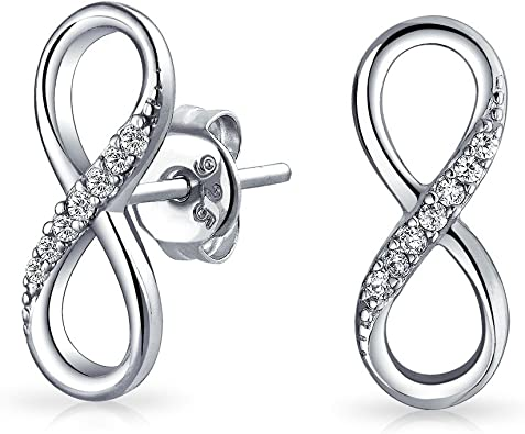 925 Sterling Silver Infinity earrings studs Gold Rose Gold