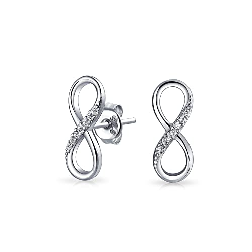 c03a4ab5f Infinity Love Symbol Cubic Zirconia Accent CZ Stud Earrings For Women For  Girlfriend 925 Sterling Silver