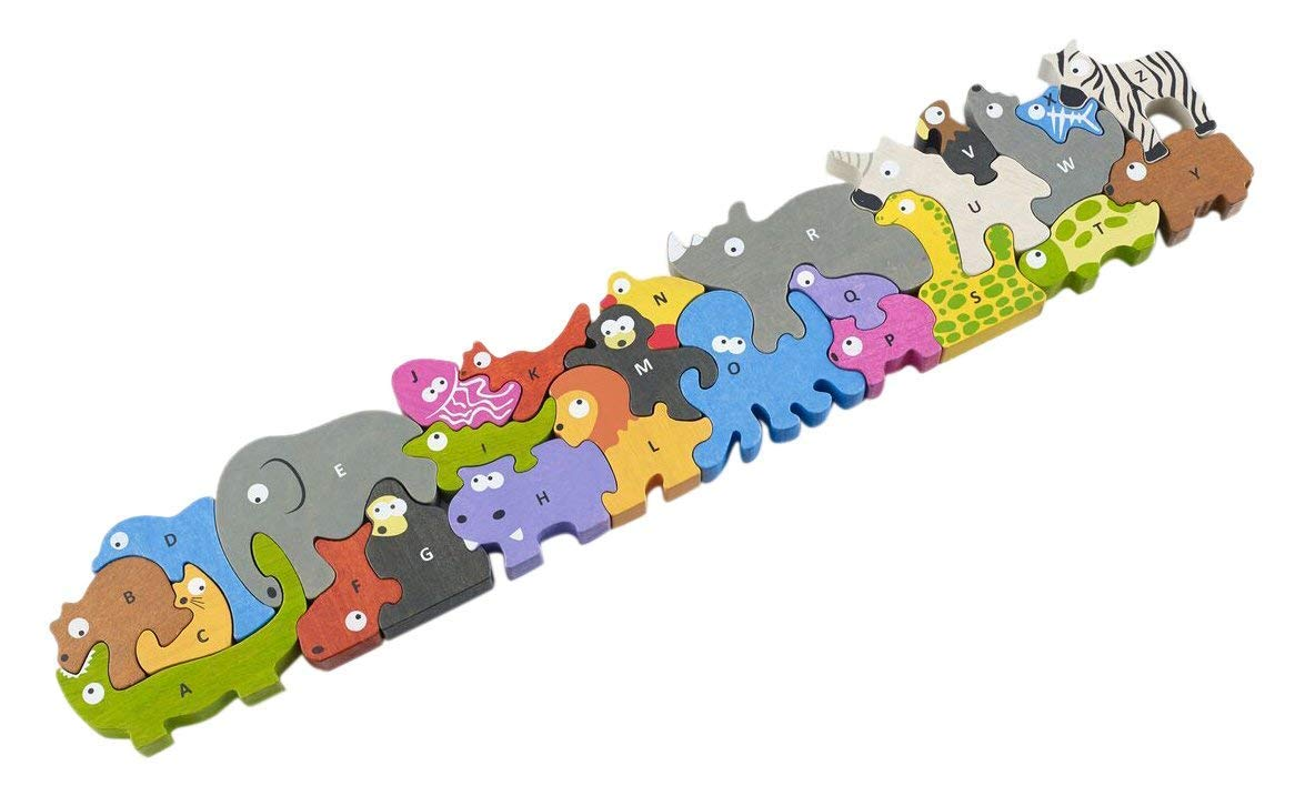 BeginAgain Animal Parade A to Z Puzzle and Playset - Educational Wooden Alphabet Puzzle - 2 and Up by BeginAgain