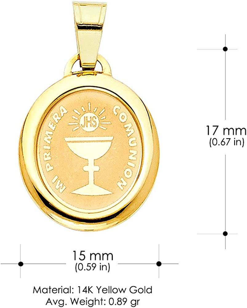 14K Yellow Gold Religious Communion Charm Pendant with 1.2mm Box Chain Necklace