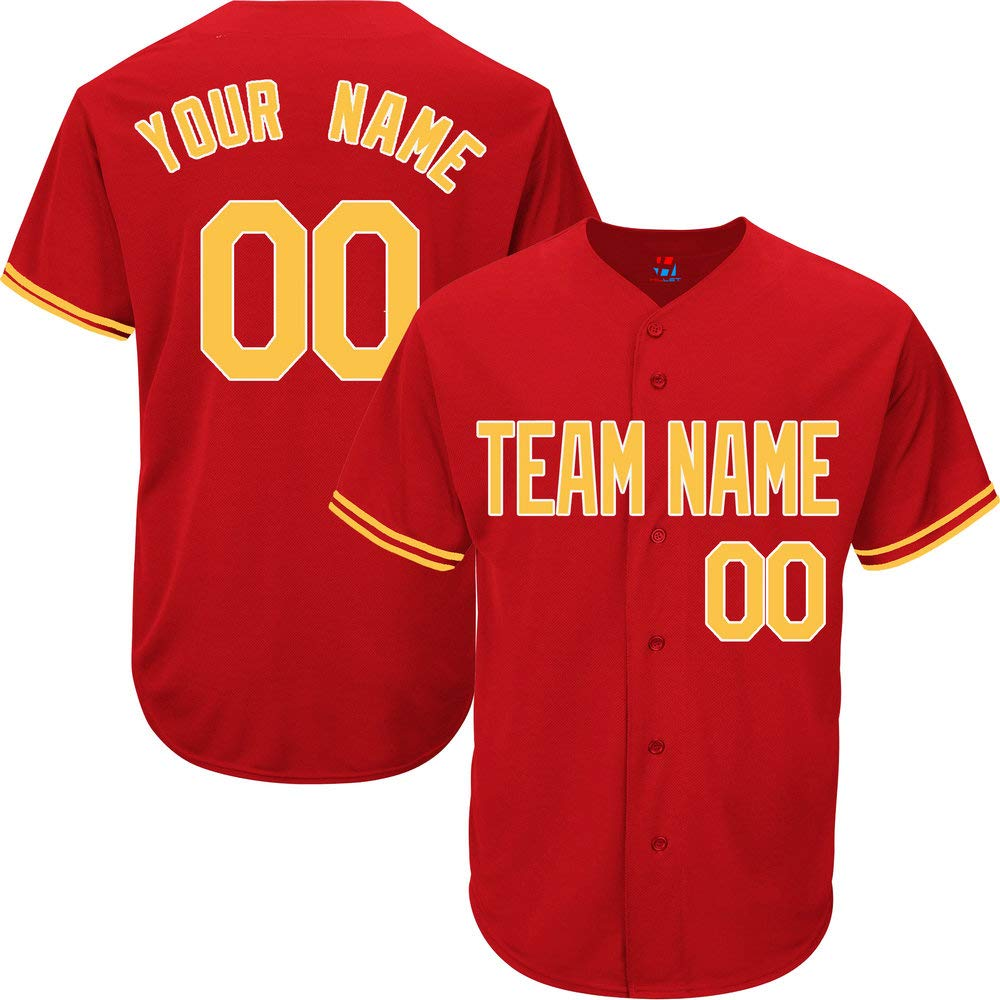Red Customized Baseball Jersey for Men Practice Embroidered Your Name & Numbers,Yellow-White Size 2XL by Pullonsy