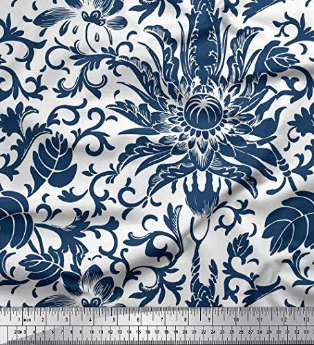 Dal Navy TurbineLascia Floreale Soimoi Marrone Decorato Pollici Scuro E Cinese 42 Tessuto Blu Stampato Metro Crepe Orientale Larghi Poli TJuFcl1K3