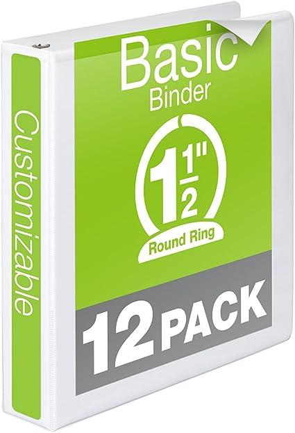 Wilson Jones 1-1//2 Inch 3 Ring Binder Black Basic Round Ring View Binder 4 Pack W70362-34BPP