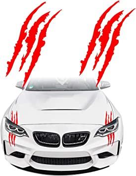 Red KE-KE Claw Marks Decal Reflective Sticker Waterproof Headlight Decal Vinyl Sticker Decal for Sports Cars 2PCS