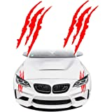 KE-KE Claw Marks Decal Reflective Sticker Waterproof Headlight Decal Vinyl Sticker Decal for Sports Cars 2PCS Red
