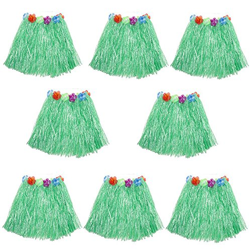 HLJgift Kid's Flowered Luau Hula Skirts Pack of 8 -