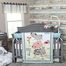 DS 4 Piece Baby Pink Grey White Farm Crib Bedding Set, Newborn Animal Themed Nursery Bed Set Infant Child Pig Cow Sheep Tractor Vehicle Birds Tree Outdoors Bold Striped Border Blanket Quilt, Cotton
