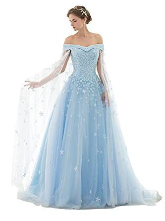 Zechun Junior Off Shoulder Flower Bridal Capes Wedding Dresses Quinceanera Prom Ball Gown With Tulle Cloak