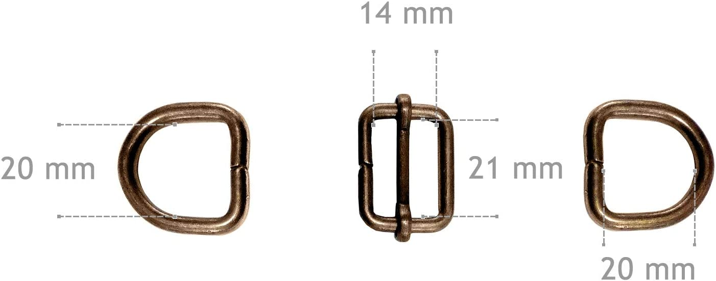 2xAKG+ARW Green Grizzly Bag Strap Slider Adjuster and D Rings Set 20 mm Gold