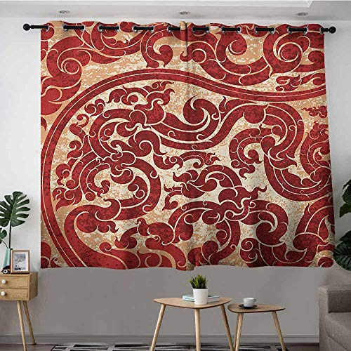 Extra Wide Patio Door Curtain,Antique Thai Culture Vector Abstract Background Flower Pattern Wallpaper Design Artwork Print,Grommet Curtains for Bedroom,W63x45LRu