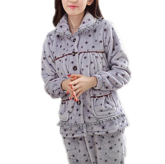 QPALZM Pijamas De Mujer Grueso Otoño E Invierno Solapa De Manga Larga Linda Dos Juegos De