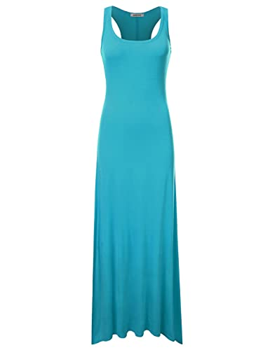 NINEXIS Women's Stretchy Tie Dye & Solid Sleeveless Maxi Dress (S-3XL)