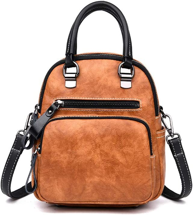 Color : Brown, Size : 22cm25cm11cm Haoyushangmao Girls Multi-Purpose Backpack for Everyday Travel//Outdoor//Travel//School//Work//Fashion//Leisure PU Leather Five Colors Double-Sided Main Bag.