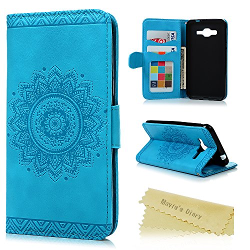 Galaxy J3 Case, Samsung Galaxy J3 Case (2016 Version) - Mavis's Diary Wallet Fancy Embossed Totem Flower Premuim PU Leather Snug Fit Soft TPU Inner Cover with Magnetic Clip & ID/Credit Card Holders