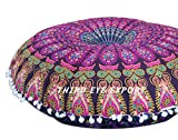 Third Eye Export 32 In Mandala Barmeri Large Round Floor Pillow Cover Cushion Meditation Seating Ottoman Throw Cover Hippie Decorative Zipped Bohemian Pouf (Purple)