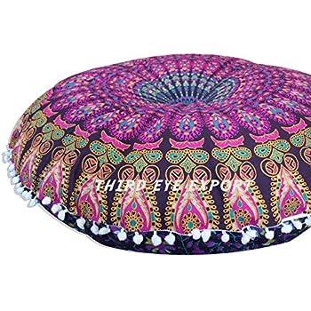Third Eye Export   32 In Mandala Barmeri Large Round Floor Pillow Cover  Cushion Meditation Seating Ottoman Throw Cover Hippie Decorative Zipped  Bohemian ...