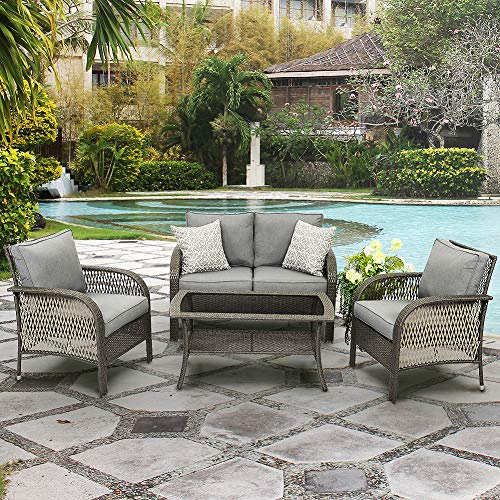 Wisteria Lane Outdoor Furniture Sets – 4 Piece Patio Conversation Set Wicker Sofa with Glass Table, Grey