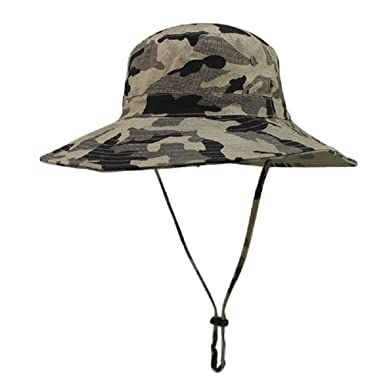 bb415bc5c3bde2 Unisex Mens Outdoor Sun Hat Camo Military Bucket Hat Hunting Fishing Cap  Large Brim Boonie Jungle Hat: Amazon.co.uk: Clothing