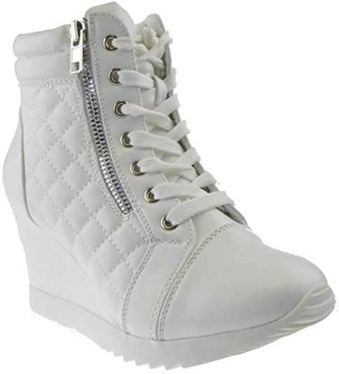 Quilted High Top Wedge Sneaker White