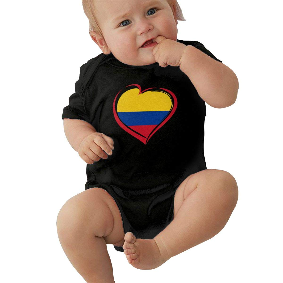 Newborn Baby Girl Boy Love Colombia with Heart OutfitsRomper Jumpsuit Short Sleeved Bodysuit Tops Clothes