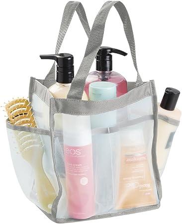 mDesign Bolso multiusos resistente al agua – Ideal bolsa viaje para la ducha – Perfecta bolsa playa, neceser o para las cosas del jardín – 6 bolsillos – Menta/gris: Amazon.es: Hogar